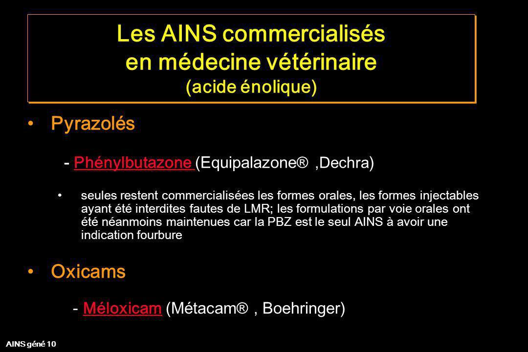Les AINS commercialisés en médecine vétérinaire (acide énolique) Les AINS commercialisés en médecine vétérinaire (acide énolique) Pyrazolés - Phénylbu