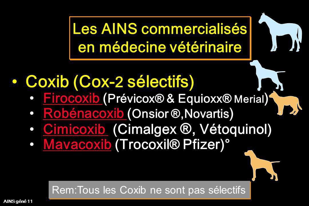 Les AINS commercialisés en médecine vétérinaire Les AINS commercialisés en médecine vétérinaire Coxib (Cox- 2 sélectifs) Firocoxib ( Prévicox® & Equio