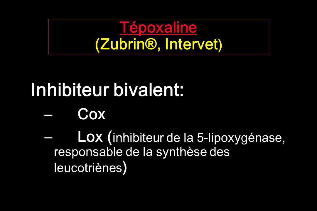 Tépoxaline Tépoxaline (Zubrin®, Intervet ) Inhibiteur bivalent: – Cox –Lox ( inhibiteur de la 5-lipoxygénase, responsable de la synthèse des leucotriè