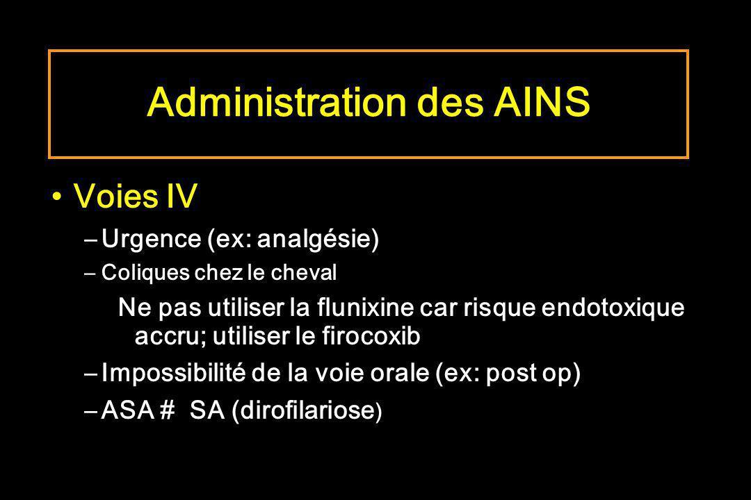 Voies IV –Urgence (ex: analgésie) –Coliques chez le cheval Ne pas utiliser la flunixine car risque endotoxique accru; utiliser le firocoxib –Impossibi