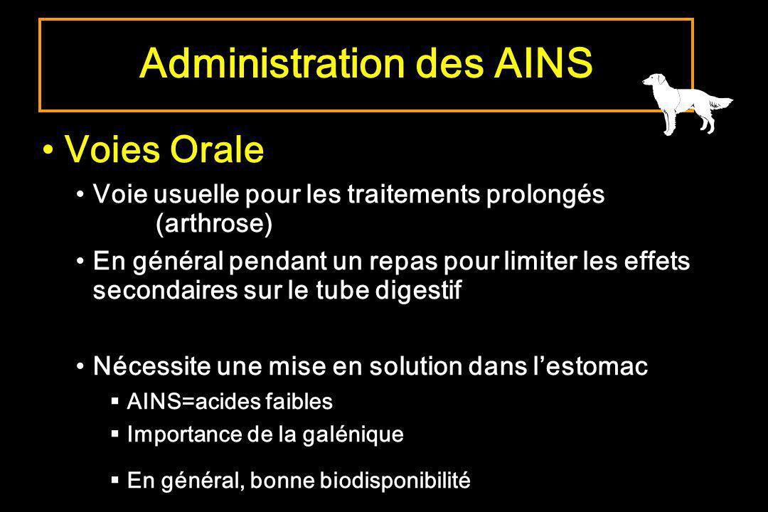 Administration des AINS Voies Orale Voie usuelle pour les traitements prolongés (arthrose) En général pendant un repas pour limiter les effets seconda