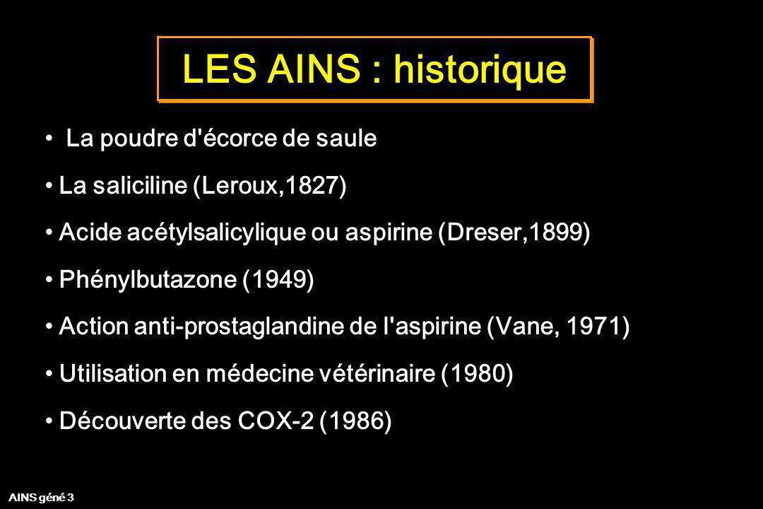 LES AINS : historique La poudre d'écorce de saule La saliciline (Leroux,1827) Acide acétylsalicylique ou aspirine (Dreser,1899) Phénylbutazone (1949)