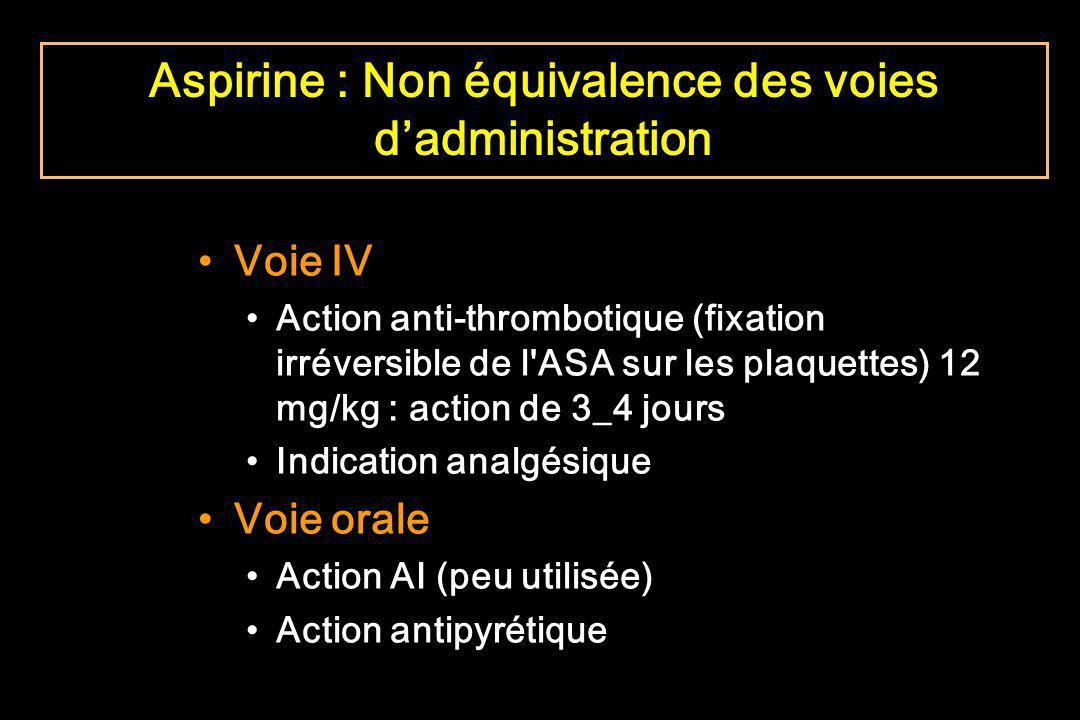 Voie IV Action anti-thrombotique (fixation irréversible de l'ASA sur les plaquettes) 12 mg/kg : action de 3_4 jours Indication analgésique Voie orale