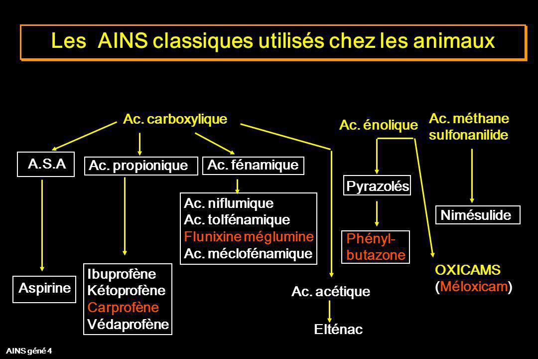Les AINS classiques utilisés chez les animaux Ac. carboxylique Ac. énolique A.S.A Ac. propionique Ac. fénamique Ac. niflumique Ac. tolfénamique Flunix