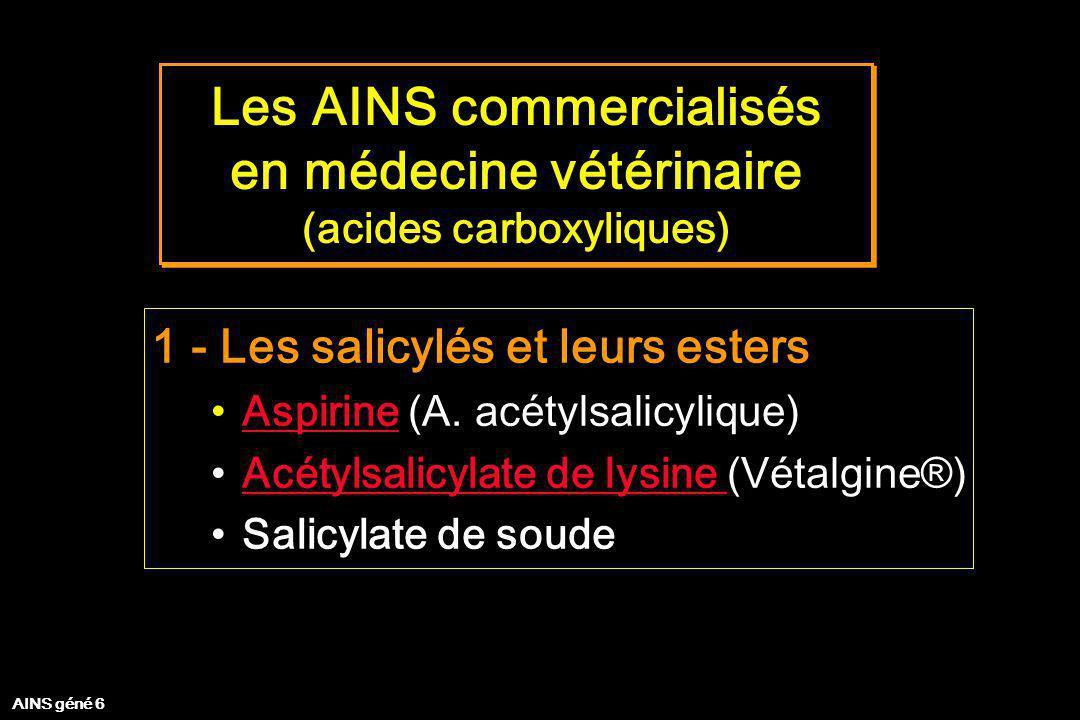 Les AINS commercialisés en médecine vétérinaire (acides carboxyliques) Les AINS commercialisés en médecine vétérinaire (acides carboxyliques) 2 - Acide propionique : les profènes Kétoprofène (Ketofen ®, Merial)Kétoprofène Carprofène (Rimadyl ®, Pfizer)Carprofène Védaprofène (Quadrisol ®, Intervet)Védaprofène Ibuprofène (Algosedal®, TVM) AINS géné 7