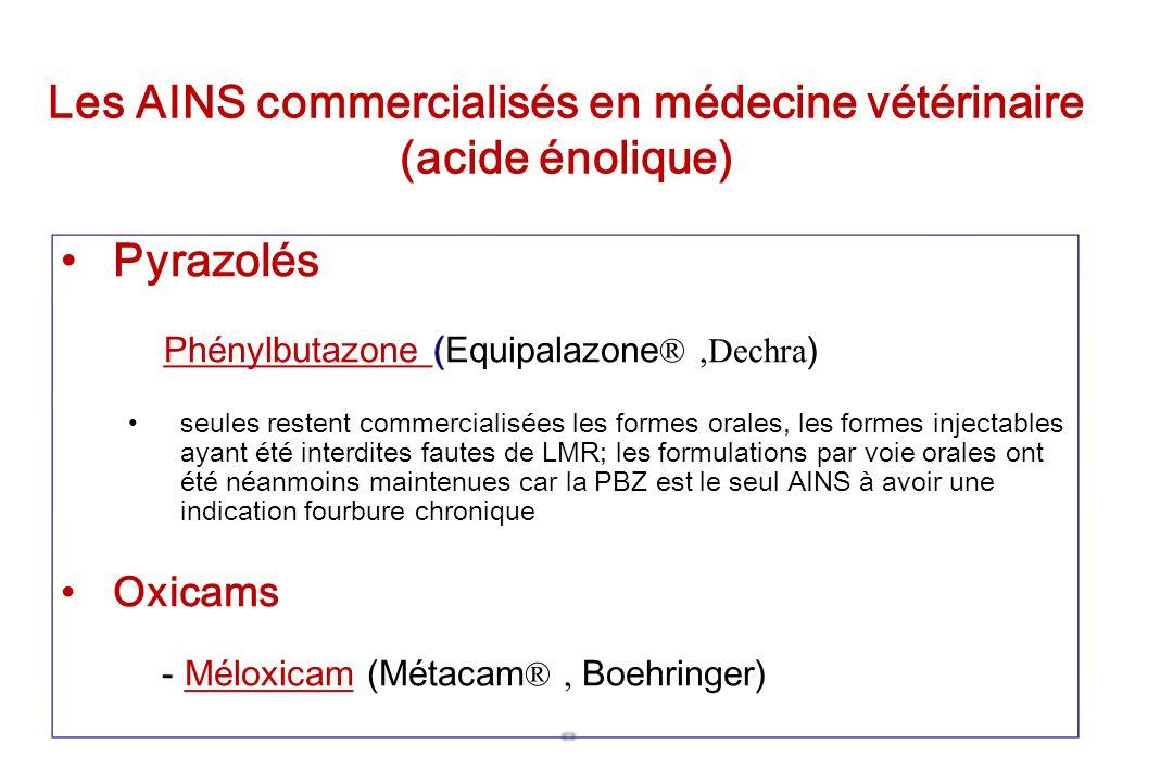 Les AINS commercialisés en médecine vétérinaire (acide énolique)