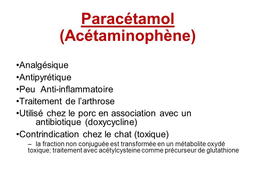 Paracétamol Paracétamol (Acétaminophène) Analgésique Antipyrétique Peu Anti-inflammatoire Traitement de larthrose Utilisé chez le porc en association