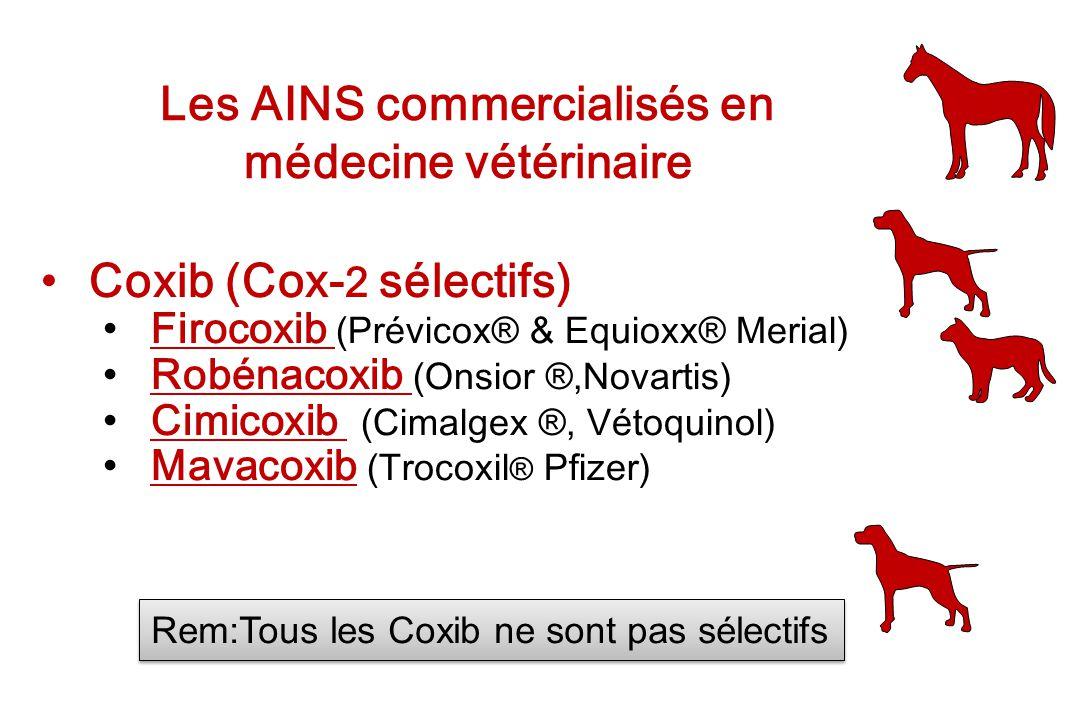 Les AINS commercialisés en médecine vétérinaire Coxib (Cox- 2 sélectifs) Firocoxib (Prévicox® & Equioxx® Merial)Firocoxib Robénacoxib (Onsior ®,Novart