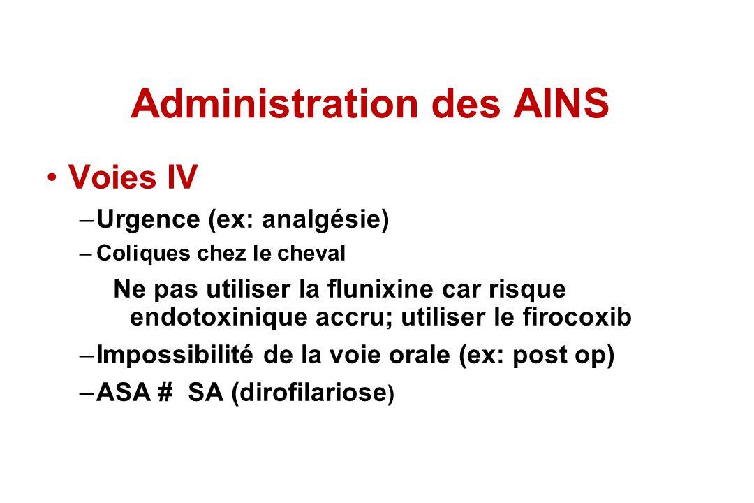 Voies IV –Urgence (ex: analgésie) –Coliques chez le cheval Ne pas utiliser la flunixine car risque endotoxinique accru; utiliser le firocoxib –Impossi