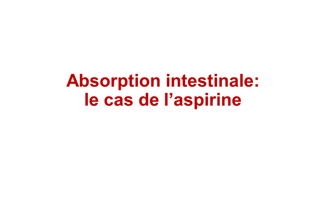 Absorption intestinale: le cas de laspirine