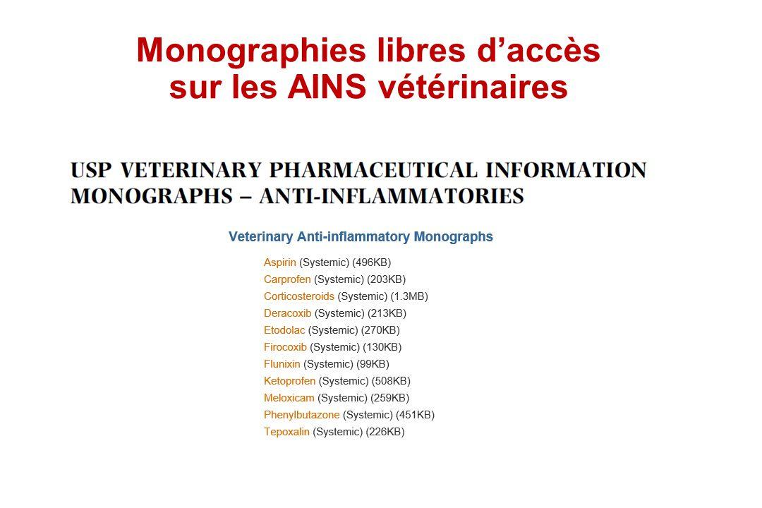 Monographies libres daccès sur les AINS vétérinaires