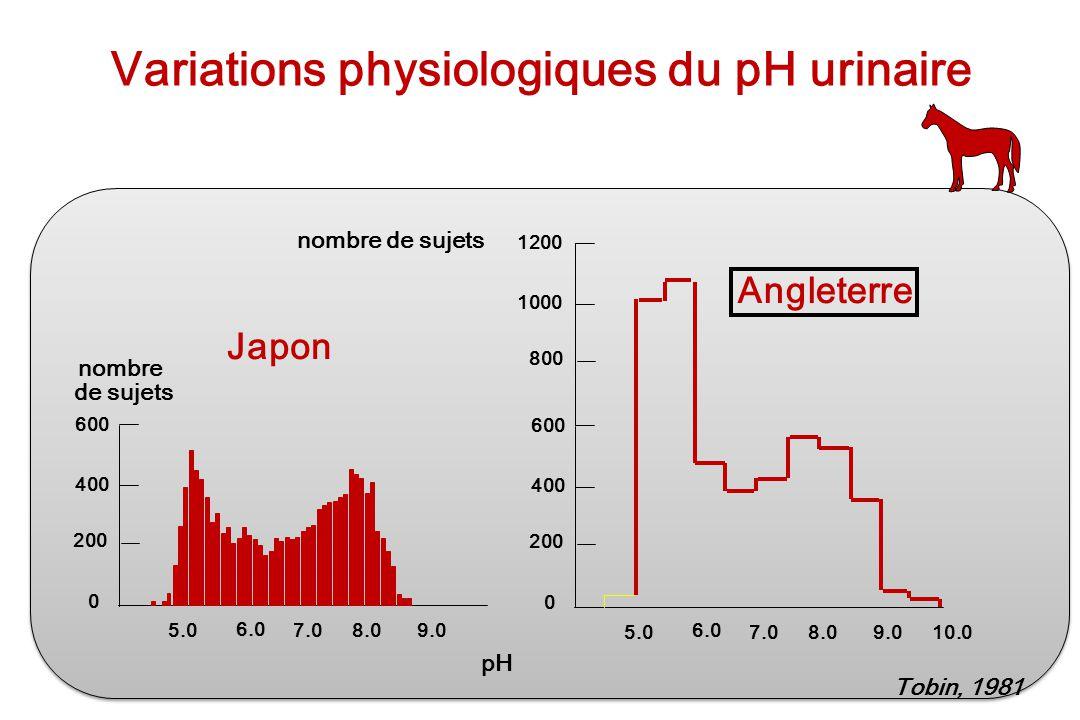 Variations physiologiques du pH urinaire 5.0 6.0 7.08.09.0 600 400 200 0 5.0 6.0 7.08.09.0 600 400 200 0 1200 1000 800 10.0 nombre de sujets Japon Ang