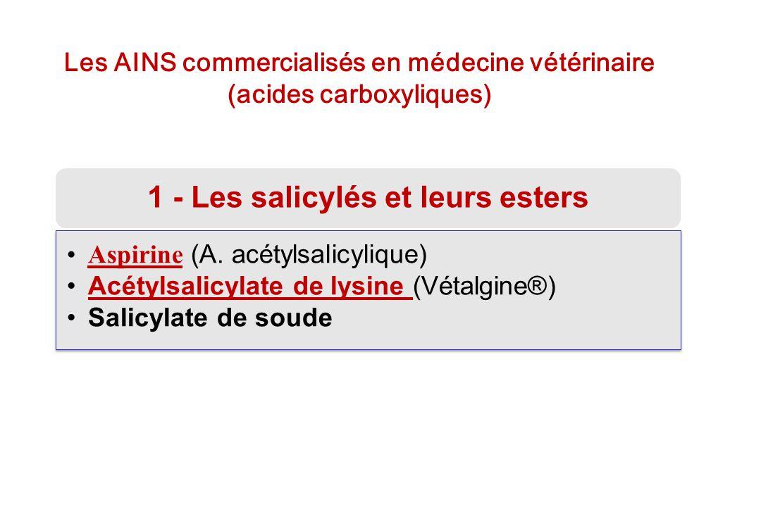 Les AINS commercialisés en médecine vétérinaire (acides carboxyliques) 1 - Les salicylés et leurs esters Aspirine (A. acétylsalicylique)Aspirine Acéty