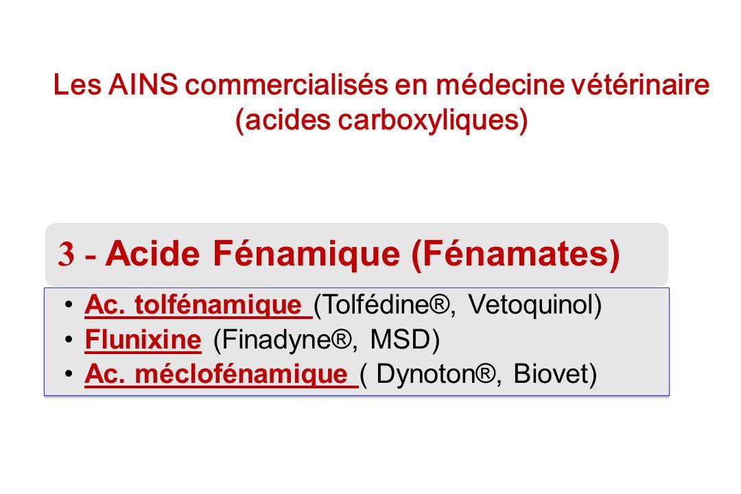 Les AINS commercialisés en médecine vétérinaire (acides carboxyliques) 3 - Acide Fénamique (Fénamates) Ac. tolfénamique (Tolfédine®, Vetoquinol)Ac. to