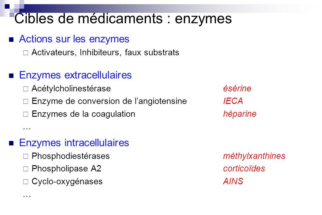 Cibles de médicaments : enzymes Actions sur les enzymes Activateurs, Inhibiteurs, faux substrats Enzymes extracellulaires Acétylcholinestéraseésérine