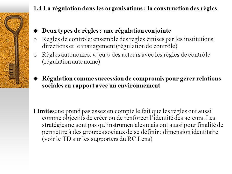 1.4 La régulation dans les organisations : la construction des règles Deux types de règles : une régulation conjointe o Règles de contrôle: ensemble d