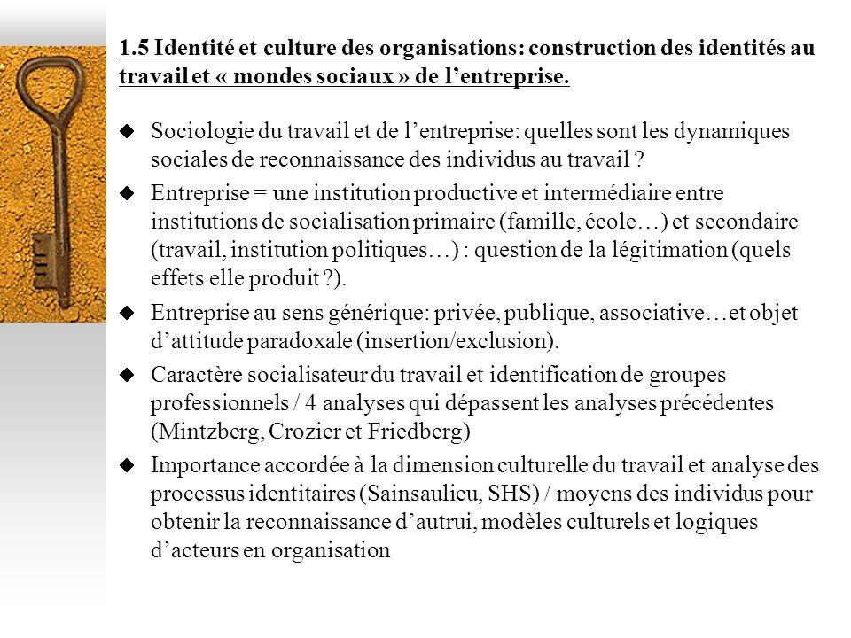 1.5 Identité et culture des organisations: construction des identités au travail et « mondes sociaux » de lentreprise. Sociologie du travail et de len