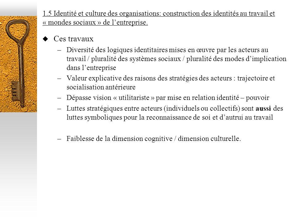 1.5 Identité et culture des organisations: construction des identités au travail et « mondes sociaux » de lentreprise. Ces travaux –Diversité des logi