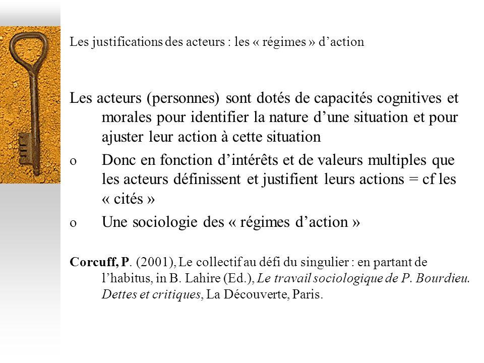 Les justifications des acteurs : les « régimes » daction Les acteurs (personnes) sont dotés de capacités cognitives et morales pour identifier la natu
