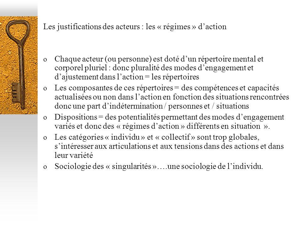 Les justifications des acteurs : les « régimes » daction o Chaque acteur (ou personne) est doté dun répertoire mental et corporel pluriel : donc plura