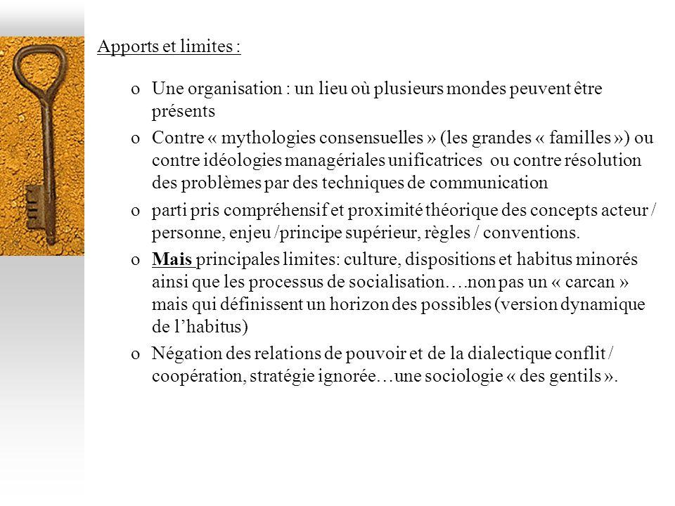Apports et limites : oUne organisation : un lieu où plusieurs mondes peuvent être présents oContre « mythologies consensuelles » (les grandes « famill