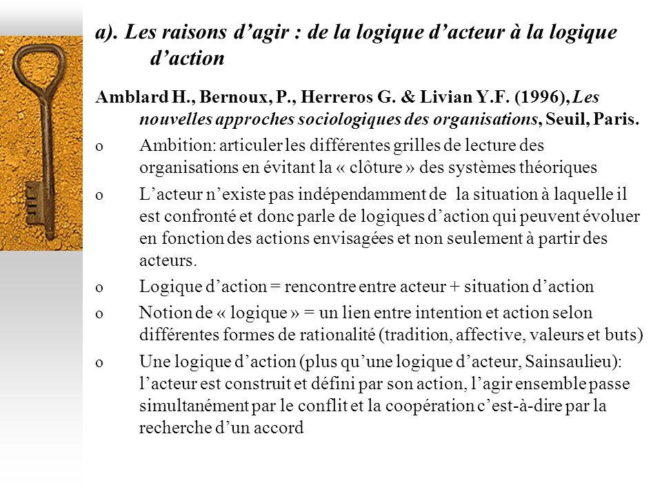 a). Les raisons dagir : de la logique dacteur à la logique daction Amblard H., Bernoux, P., Herreros G. & Livian Y.F. (1996), Les nouvelles approches