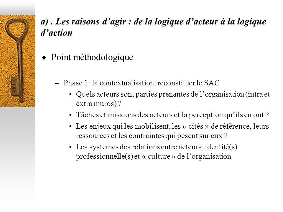 a). Les raisons dagir : de la logique dacteur à la logique daction Point méthodologique –Phase 1: la contextualisation: reconstituer le SAC Quels acte