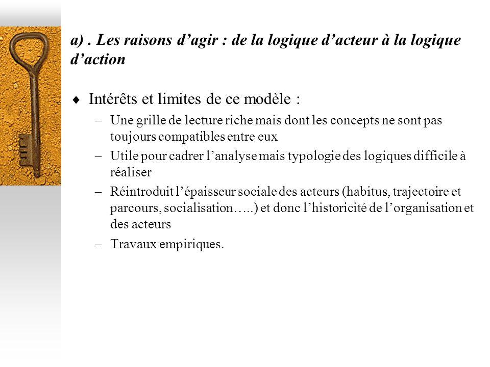 a). Les raisons dagir : de la logique dacteur à la logique daction Intérêts et limites de ce modèle : –Une grille de lecture riche mais dont les conce
