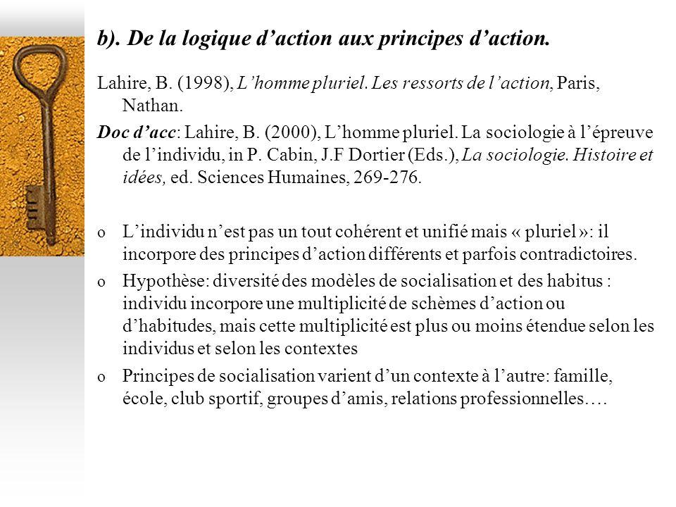 b). De la logique daction aux principes daction. Lahire, B. (1998), Lhomme pluriel. Les ressorts de laction, Paris, Nathan. Doc dacc: Lahire, B. (2000