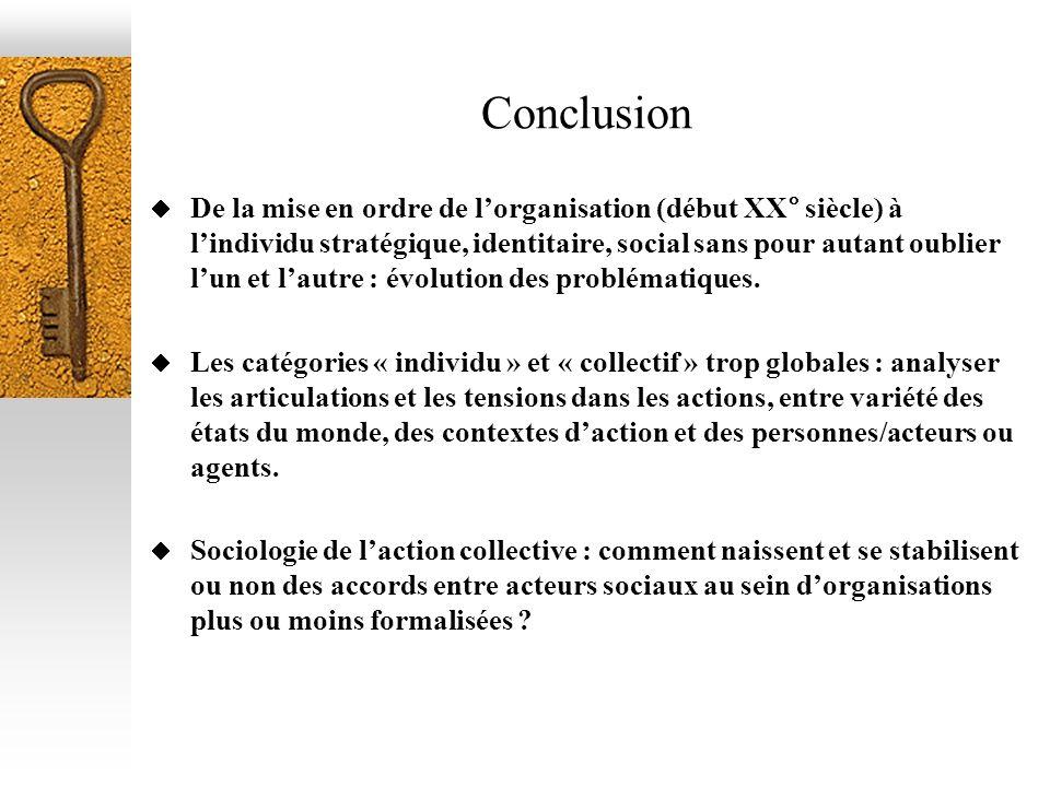 Conclusion De la mise en ordre de lorganisation (début XX° siècle) à lindividu stratégique, identitaire, social sans pour autant oublier lun et lautre