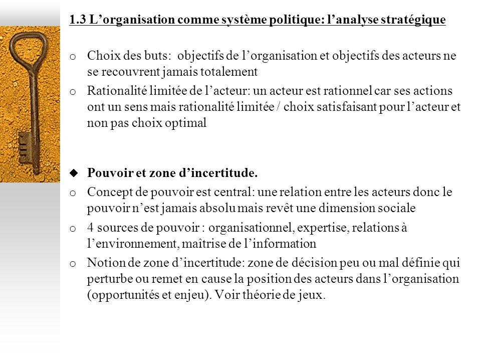 1.3 Lorganisation comme système politique: lanalyse stratégique o Choix des buts: objectifs de lorganisation et objectifs des acteurs ne se recouvrent