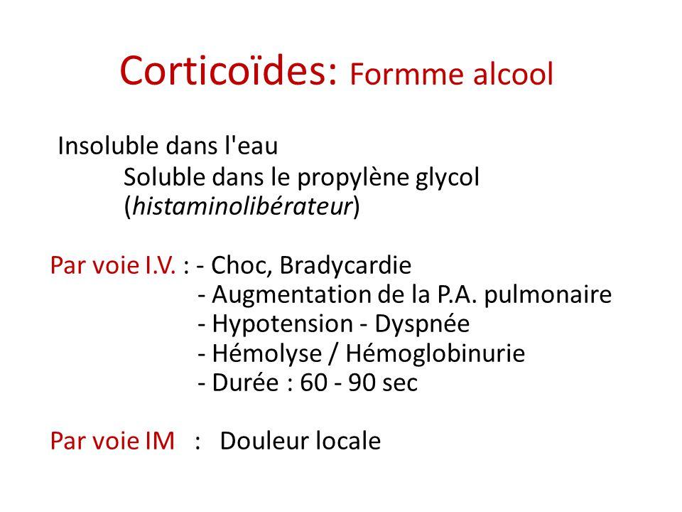 Insoluble dans l eau Soluble dans le propylène glycol (histaminolibérateur) Par voie I.V.