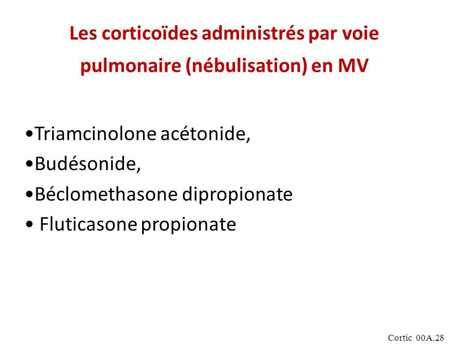 Cortic 00A.28 Les corticoïdes administrés par voie pulmonaire (nébulisation) en MV Triamcinolone acétonide, Budésonide, Béclomethasone dipropionate Fluticasone propionate