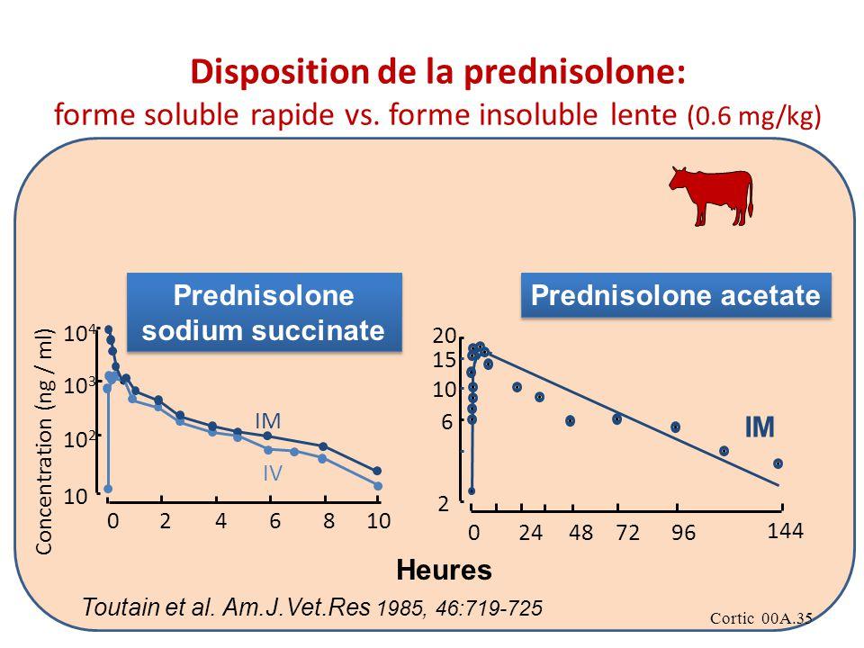 Cortic 00A.35 2 6 10 15 20 024487296 144 10 4 24 10 3 10 0 10 2 68 IM IV Concentration (ng / ml) Prednisolone sodium succinate Prednisolone acetate Heures Toutain et al.