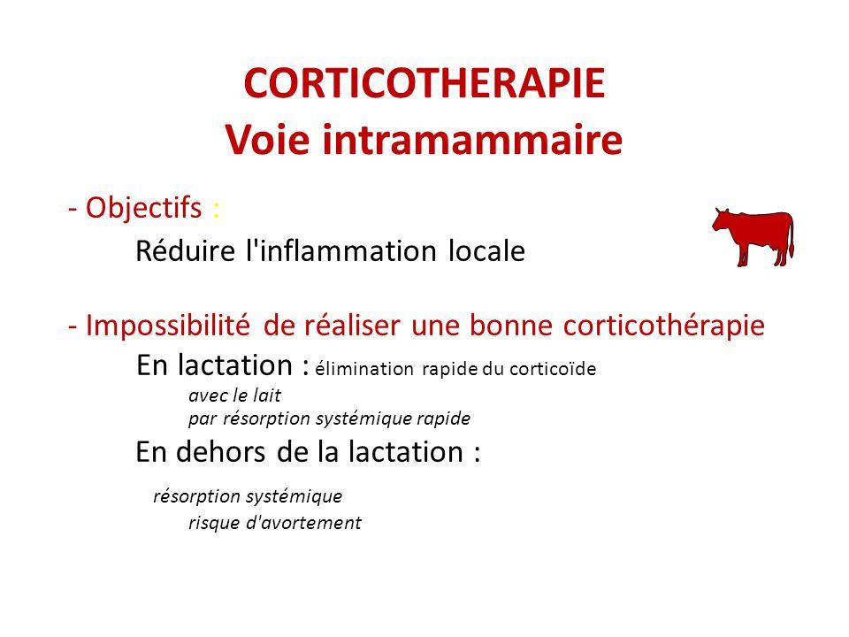 CORTICOTHERAPIE Voie intramammaire - Objectifs : Réduire l inflammation locale - Impossibilité de réaliser une bonne corticothérapie En lactation : élimination rapide du corticoïde avec le lait par résorption systémique rapide En dehors de la lactation : résorption systémique risque d avortement