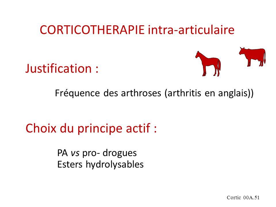Cortic 00A.51 CORTICOTHERAPIE intra-articulaire Justification : Fréquence des arthroses (arthritis en anglais)) Choix du principe actif : PA vs pro- drogues Esters hydrolysables