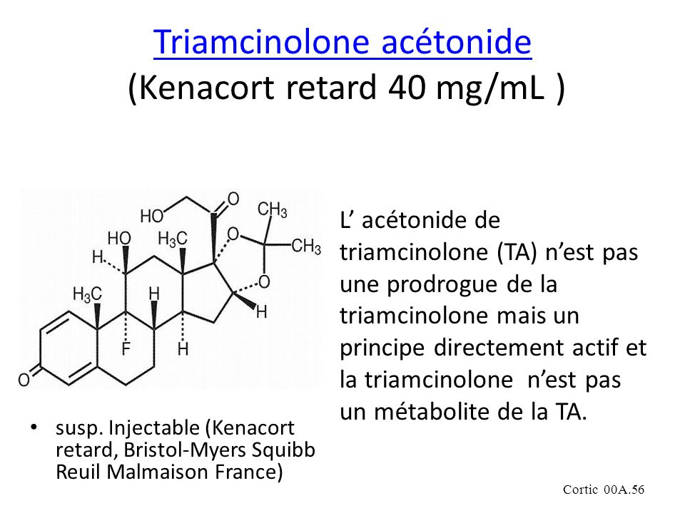 Cortic 00A.56 Triamcinolone acétonide Triamcinolone acétonide (Kenacort retard 40 mg/mL ) susp.