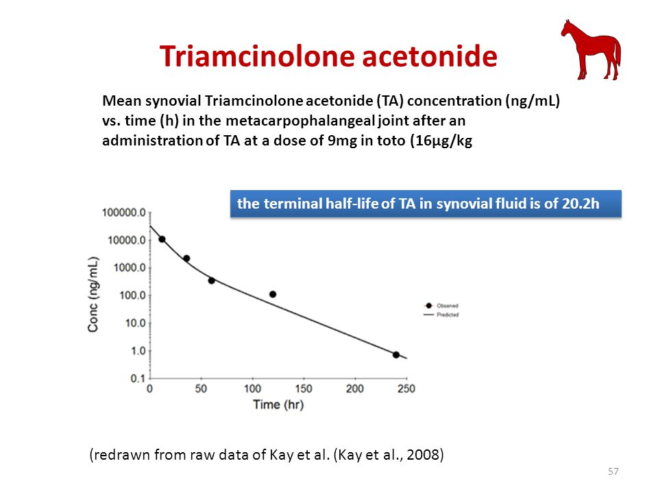 Triamcinolone acetonide (redrawn from raw data of Kay et al. (Kay et al., 2008) the terminal half-life of TA in synovial fluid is of 20.2h Mean synovi