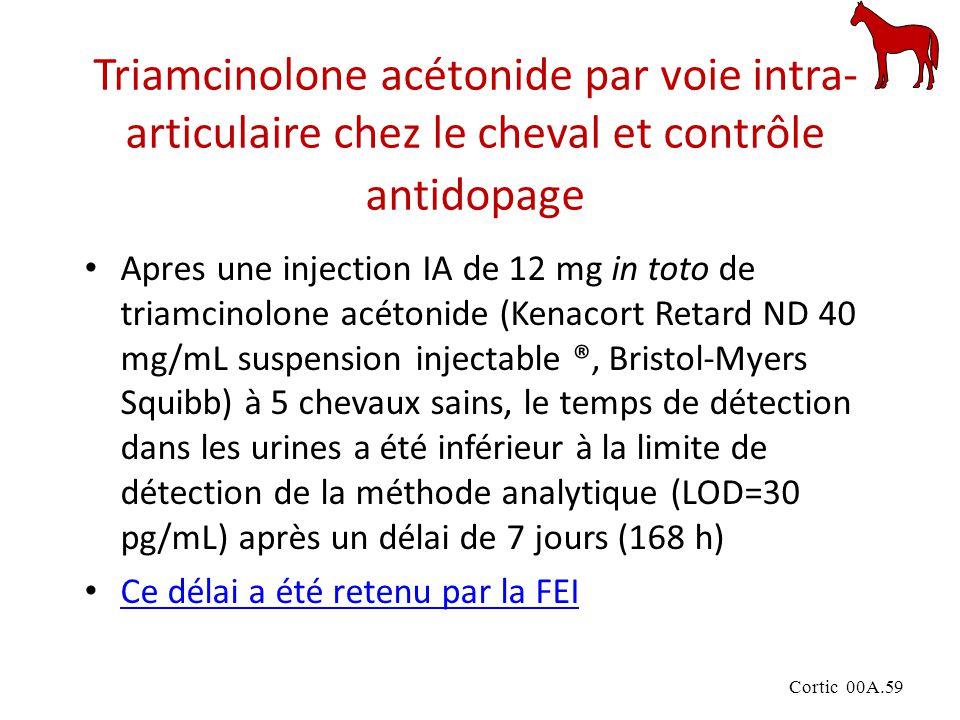 Cortic 00A.59 Triamcinolone acétonide par voie intra- articulaire chez le cheval et contrôle antidopage Apres une injection IA de 12 mg in toto de triamcinolone acétonide (Kenacort Retard ND 40 mg/mL suspension injectable ®, Bristol-Myers Squibb) à 5 chevaux sains, le temps de détection dans les urines a été inférieur à la limite de détection de la méthode analytique (LOD=30 pg/mL) après un délai de 7 jours (168 h) Ce délai a été retenu par la FEI