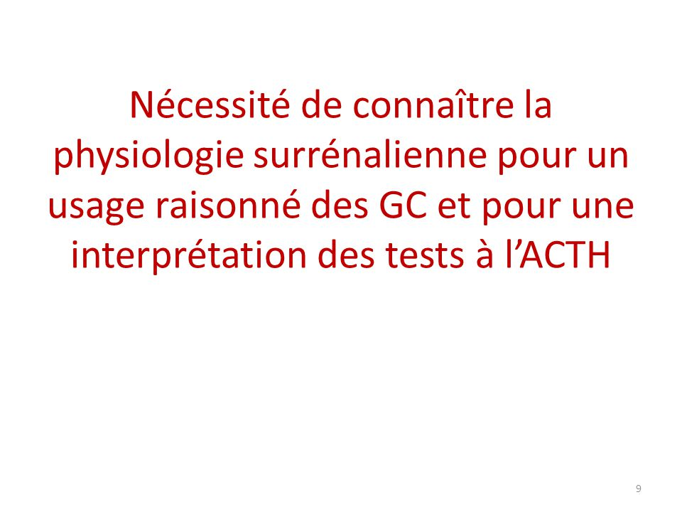 Nécessité de connaître la physiologie surrénalienne pour un usage raisonné des GC et pour une interprétation des tests à lACTH 9