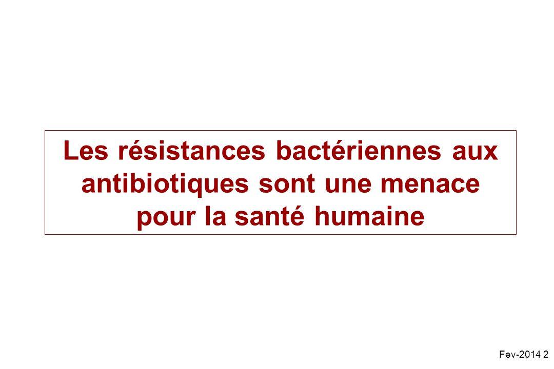 Les résistances bactériennes aux antibiotiques sont une menace pour la santé humaine Fev-2014 2