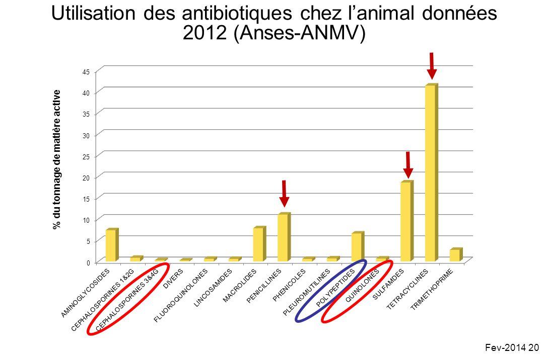 Utilisation des antibiotiques chez lanimal données 2012 (Anses-ANMV) % du tonnage de matière active Fev-2014 20