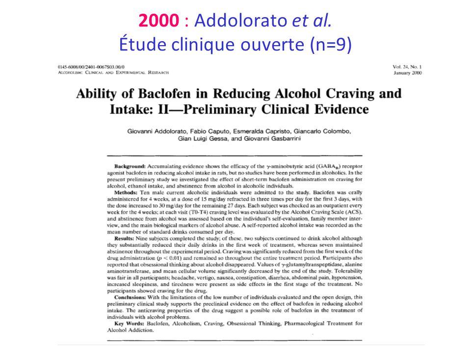 2000 : Addolorato et al. Étude clinique ouverte (n=9)