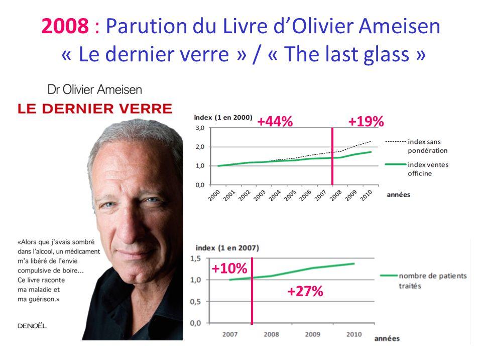 2008 : Parution du Livre dOlivier Ameisen « Le dernier verre » / « The last glass » +19%+44% +10% +27%