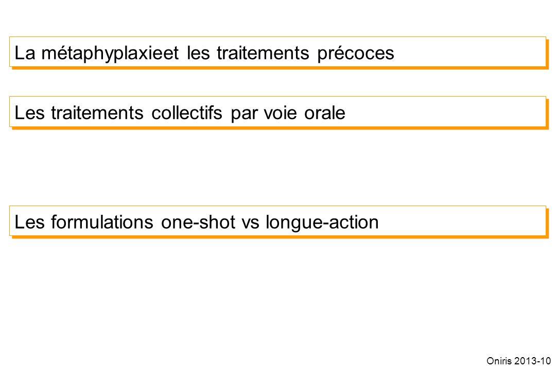 La métaphyplaxieet les traitements précoces Les traitements collectifs par voie orale Les formulations one-shot vs longue-action Oniris 2013-10