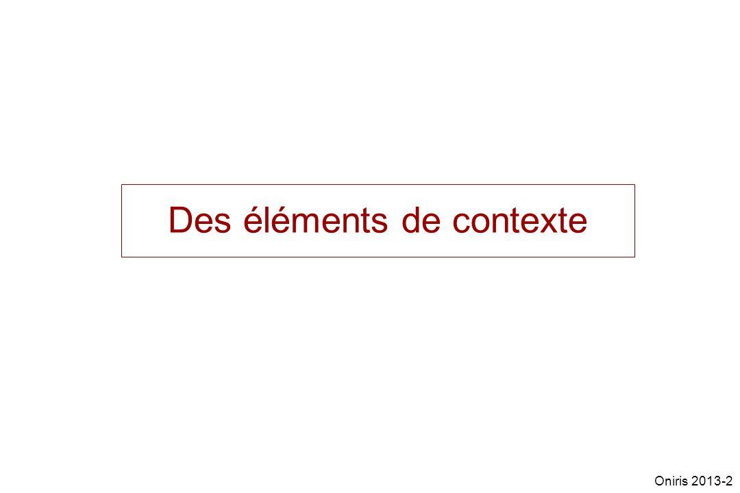 Des éléments de contexte Oniris 2013-2