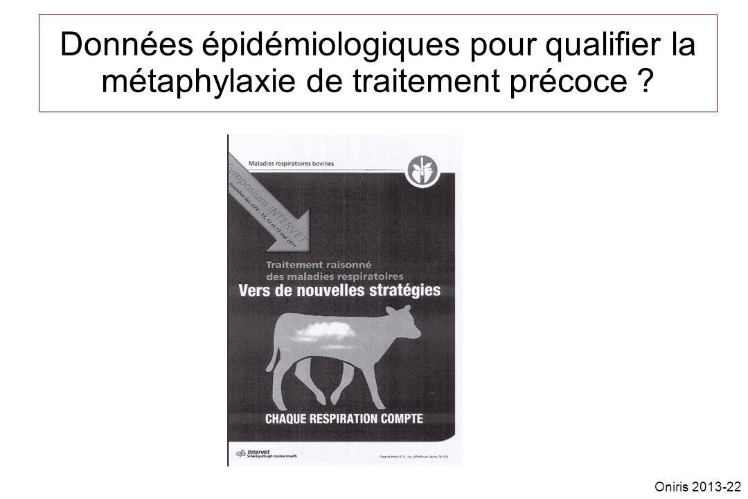 Données épidémiologiques pour qualifier la métaphylaxie de traitement précoce ? Oniris 2013-22