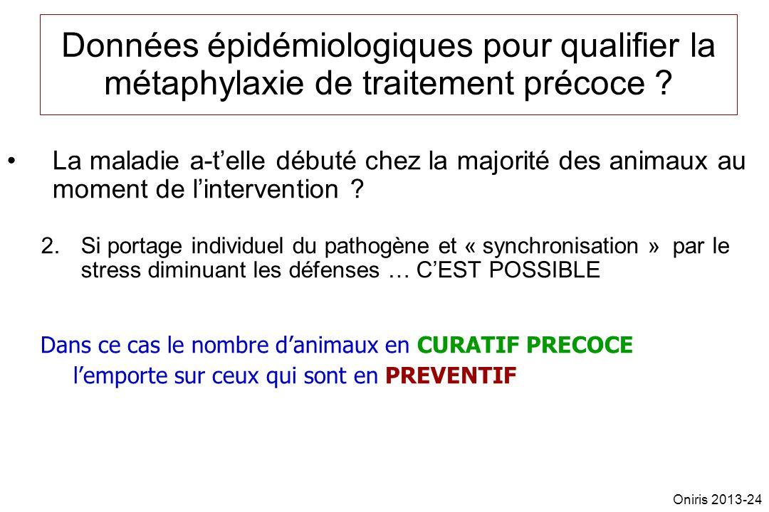 Données épidémiologiques pour qualifier la métaphylaxie de traitement précoce ? La maladie a-telle débuté chez la majorité des animaux au moment de li