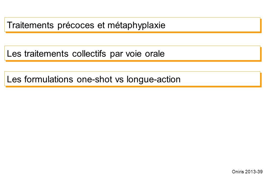 Traitements précoces et métaphyplaxie Les traitements collectifs par voie orale Les formulations one-shot vs longue-action Oniris 2013-39