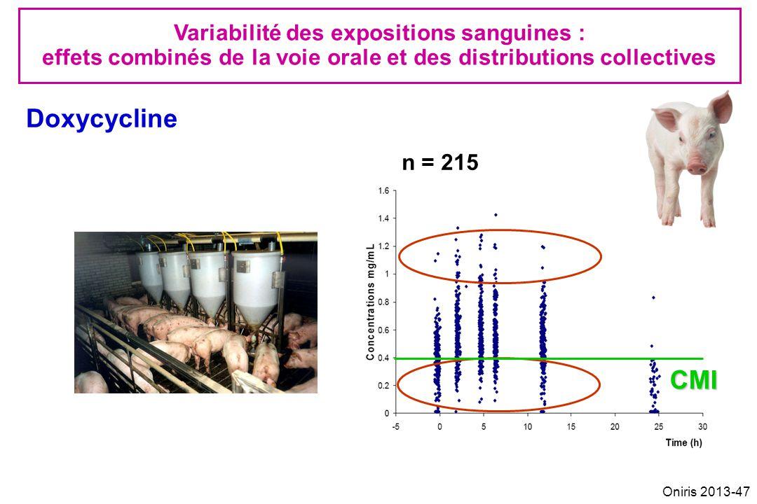 n = 215 Doxycycline Variabilité des expositions sanguines : effets combinés de la voie orale et des distributions collectives CMI Oniris 2013-47